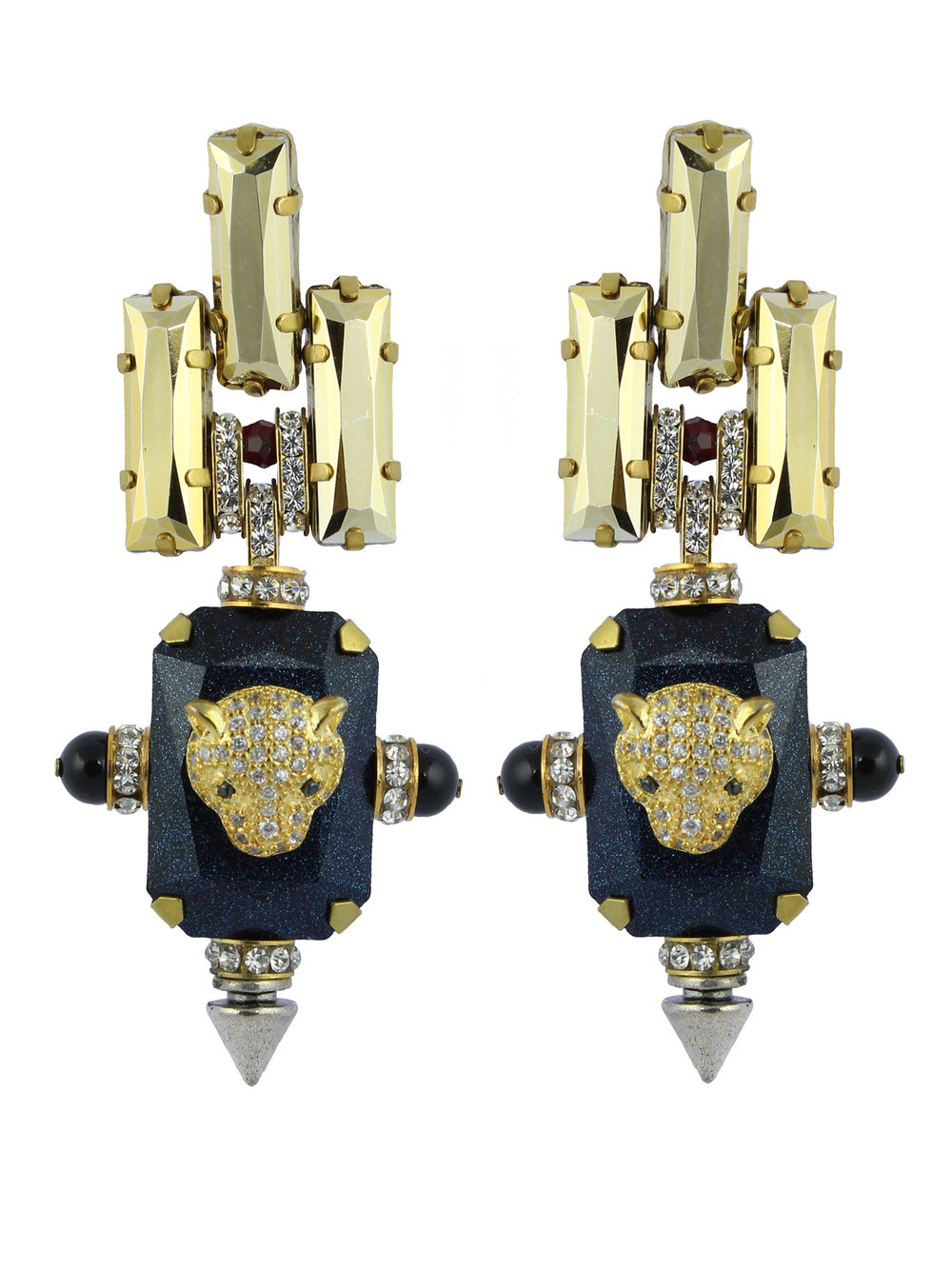 237E Blue & Gold Deco Spiked Earrings.jpg