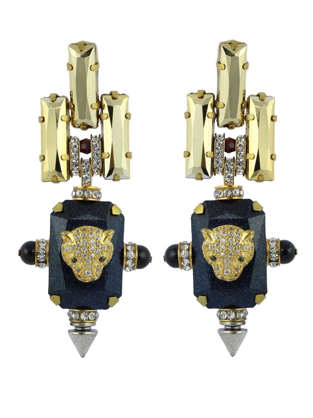 237E Blue & Gold Deco Spiked Earrings.jpg