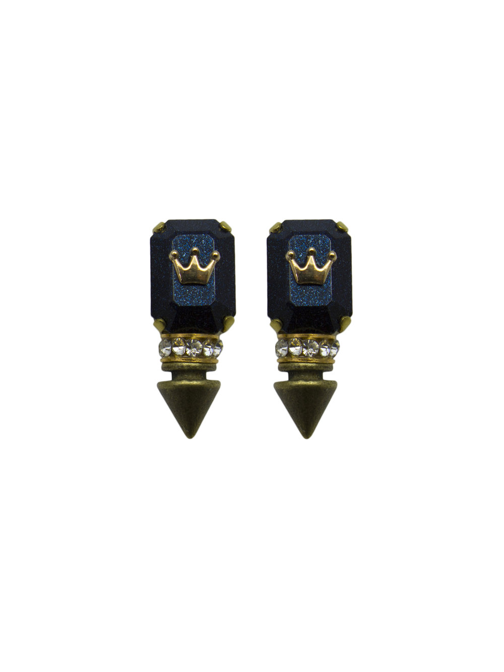 239E Blue Rectangle Spiked Stud Earrings.jpg