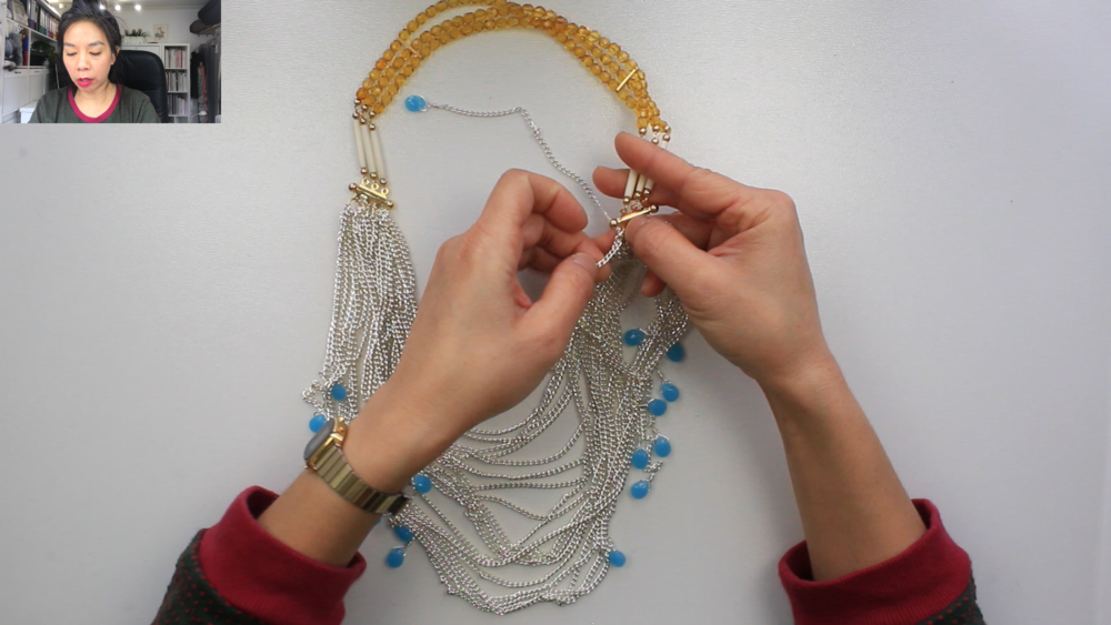 PATTERN WALKTHROUGH - SILVER CHAIN BLUE DANGLE NECKLACE