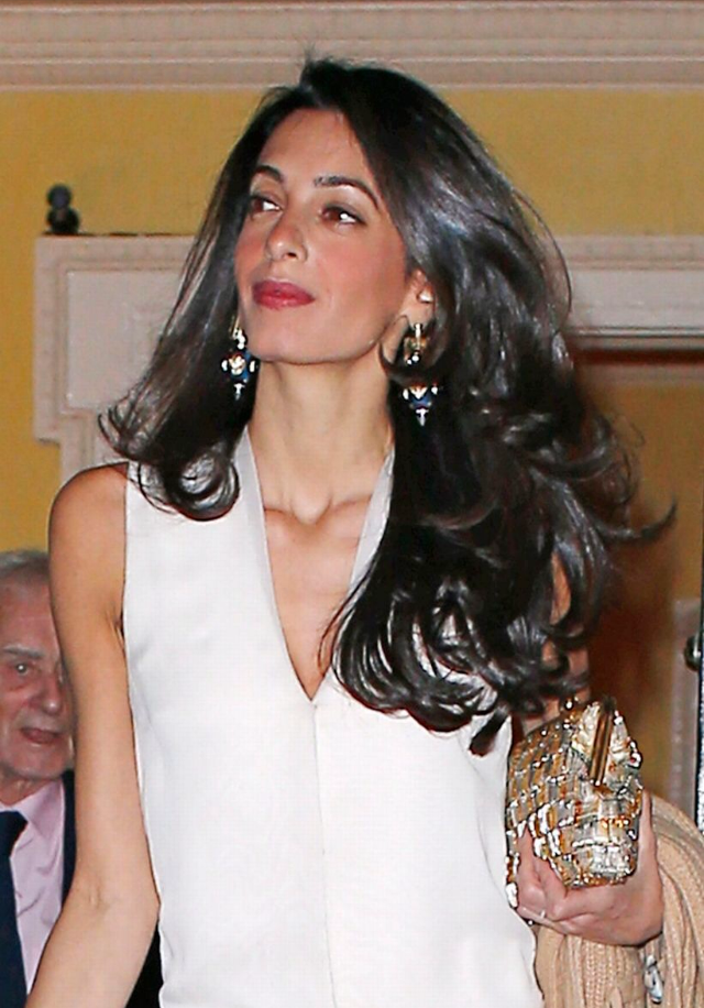 AMAL IN GOLD TRIPLE-BAGUETTE SPIKED EARRINGS -