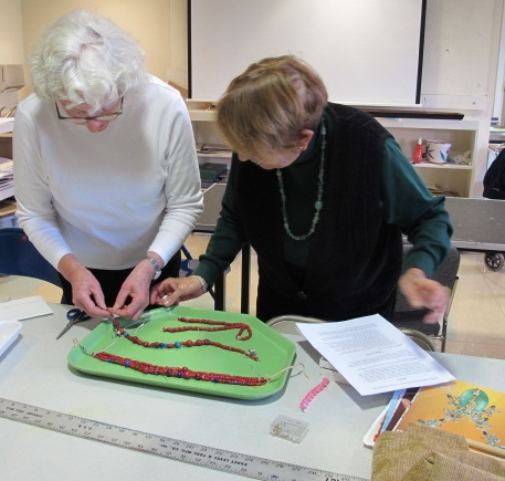 Beading workshop offered by two resident beaders
