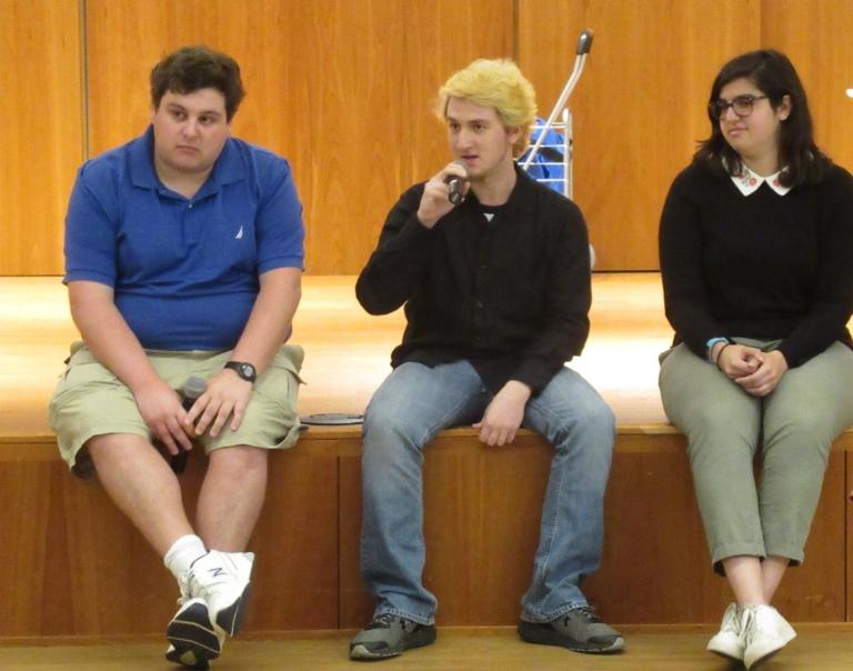 From left to right: Joseph Gonzalez, graduate student; Devin Stafford, junior; Rachel Scopp-Cardillo, junior.  Photo by Arthur Brady