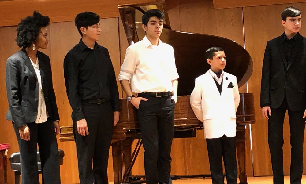 Maya Holtham, cello; Angel Guanga, violin; Francisco Verastegui, flute; Joaquin Manuel Estrella, piano; Nicholas Fanara, piano all performed that afternoon.