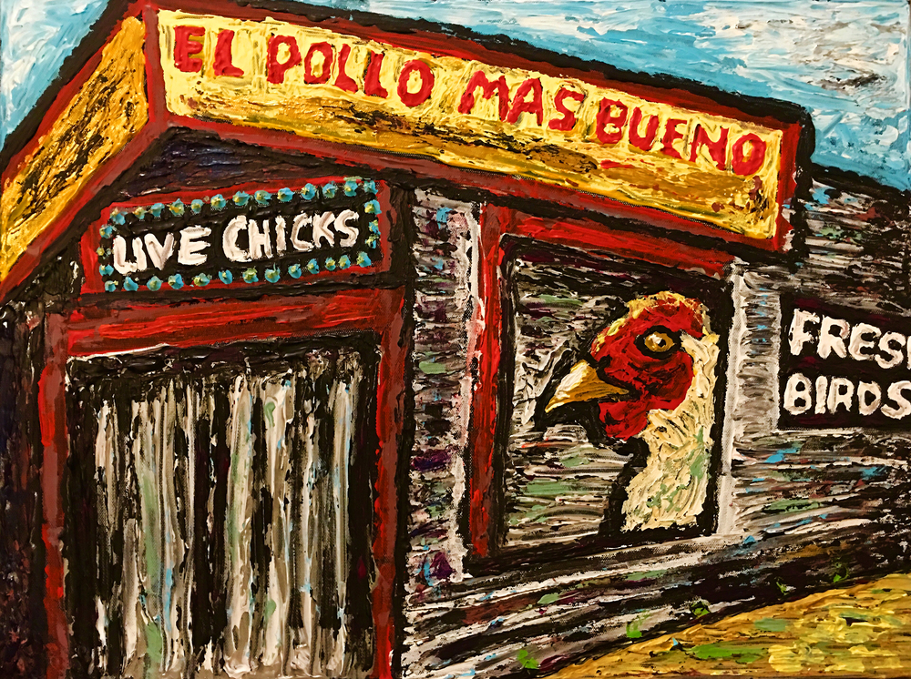 "El Pollo Mas Bueno, 2015, 18x24"" Acrylics on Canvas by Joe Bloch"