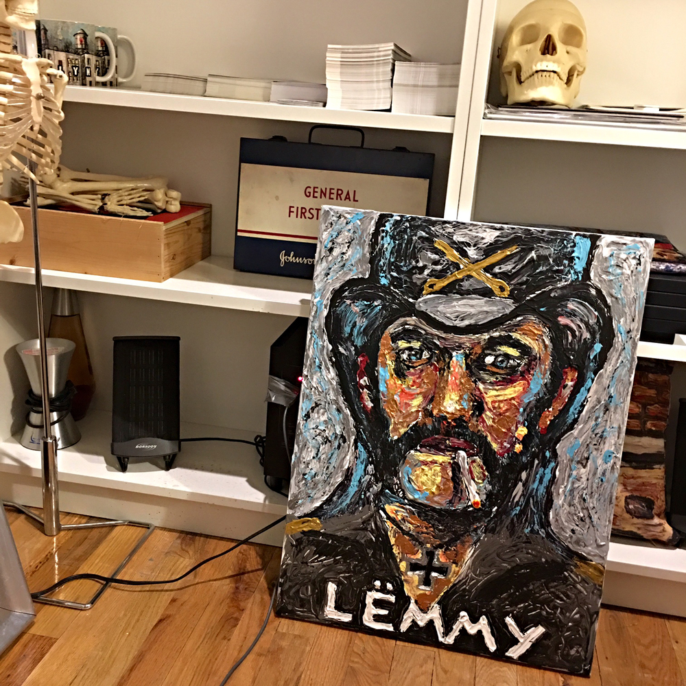 It's nice to have this portrait in the studio to serve as inspiration and motivation to work hard and love what you do. Lemmy sure did.