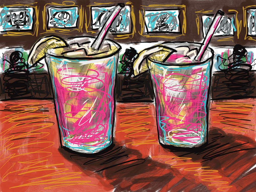 A Couple of Electric Pink Lemonade Drinks at 'STICKY CITY' Bar