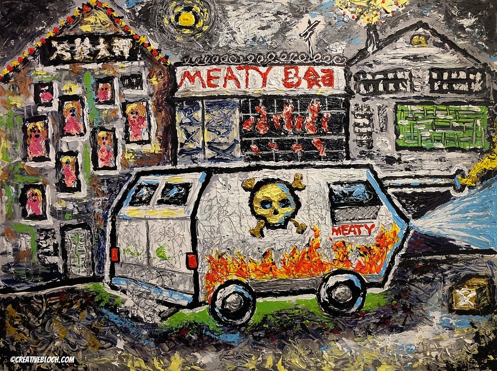 "MEATY, 30x40"", Acrylics on Canvas"