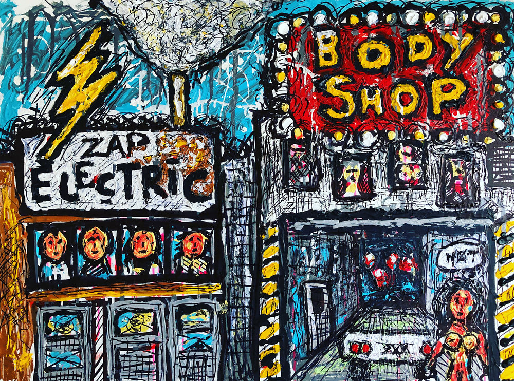 "BODY SHOP, 30x40"" Acrylics on Canvas"