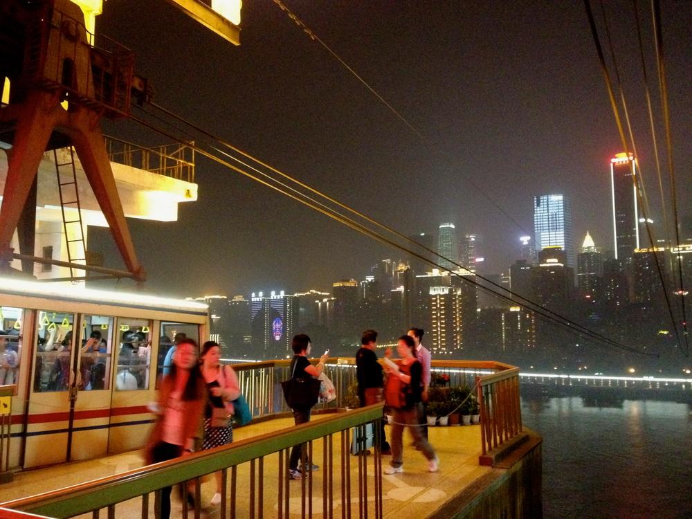 Looking towards Jiefangbei district from across the Yangtze.