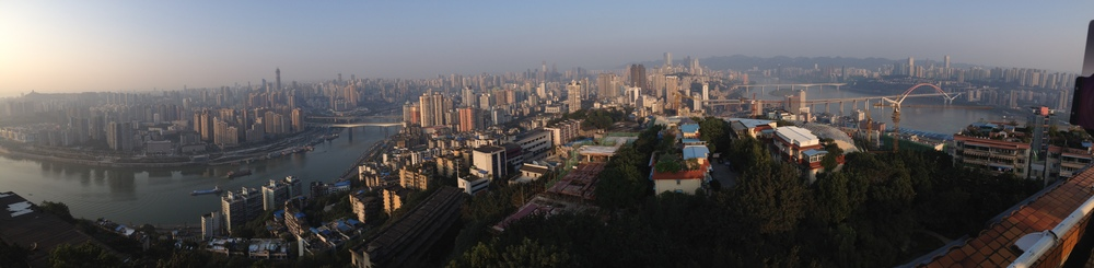 View from Eling Park pagoda, looking east towards Jiefangbei (click for full resolution image).