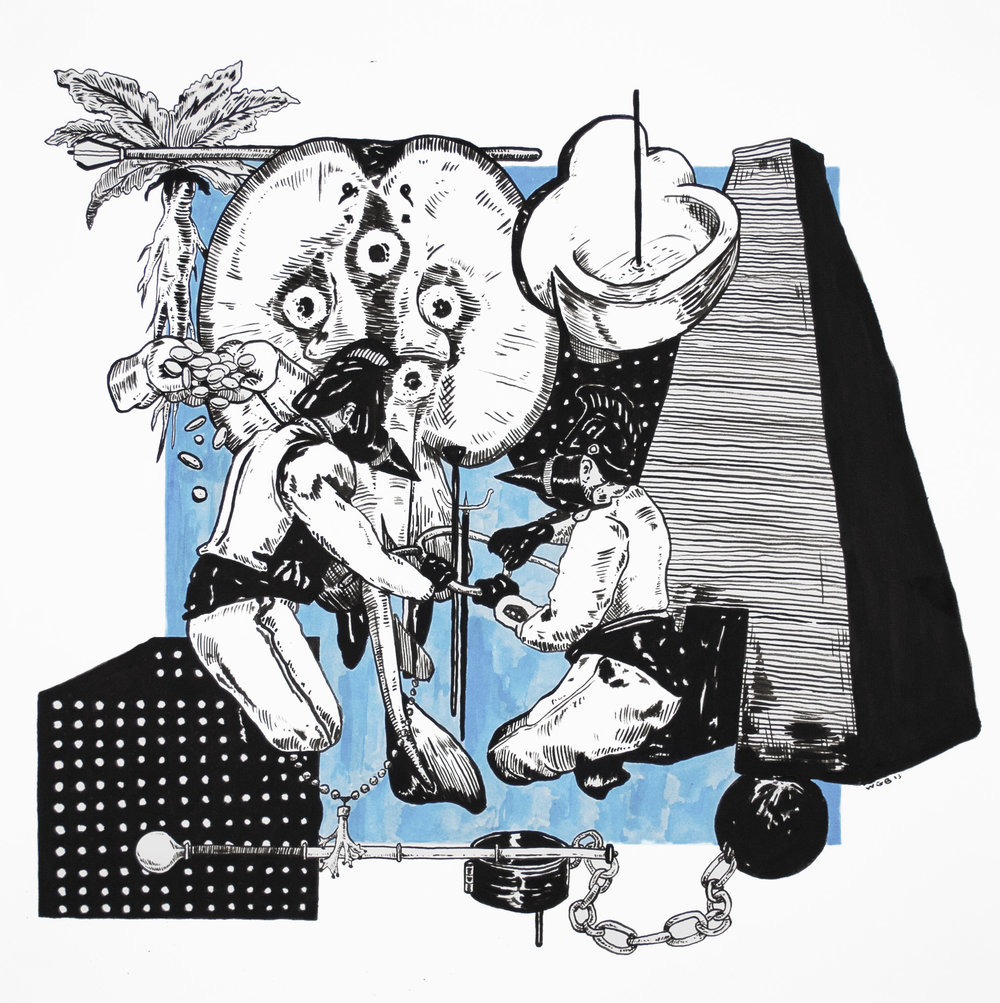 Lust, Crime & Holiness #20 , 2013 India ink on paper 18 x 18 inches