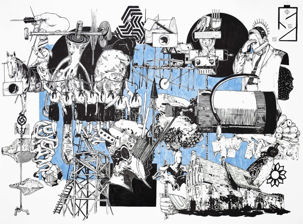 Lust, Crime & Holiness #21 , 2013 India ink on paper 32 x 44 inches
