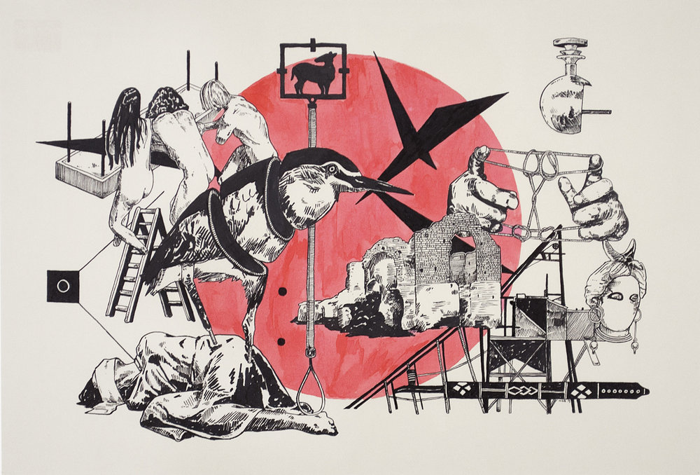 Lust, Crime & Holiness #27 , 2013 India ink on paper 15 x 22 inches