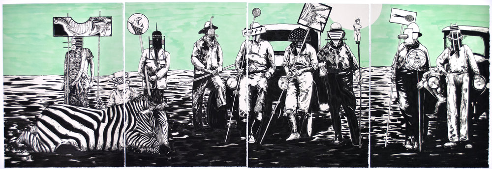 "The Tide Has Turned #4, 2013 30 x 88"" (quadriptych) india ink on paper"