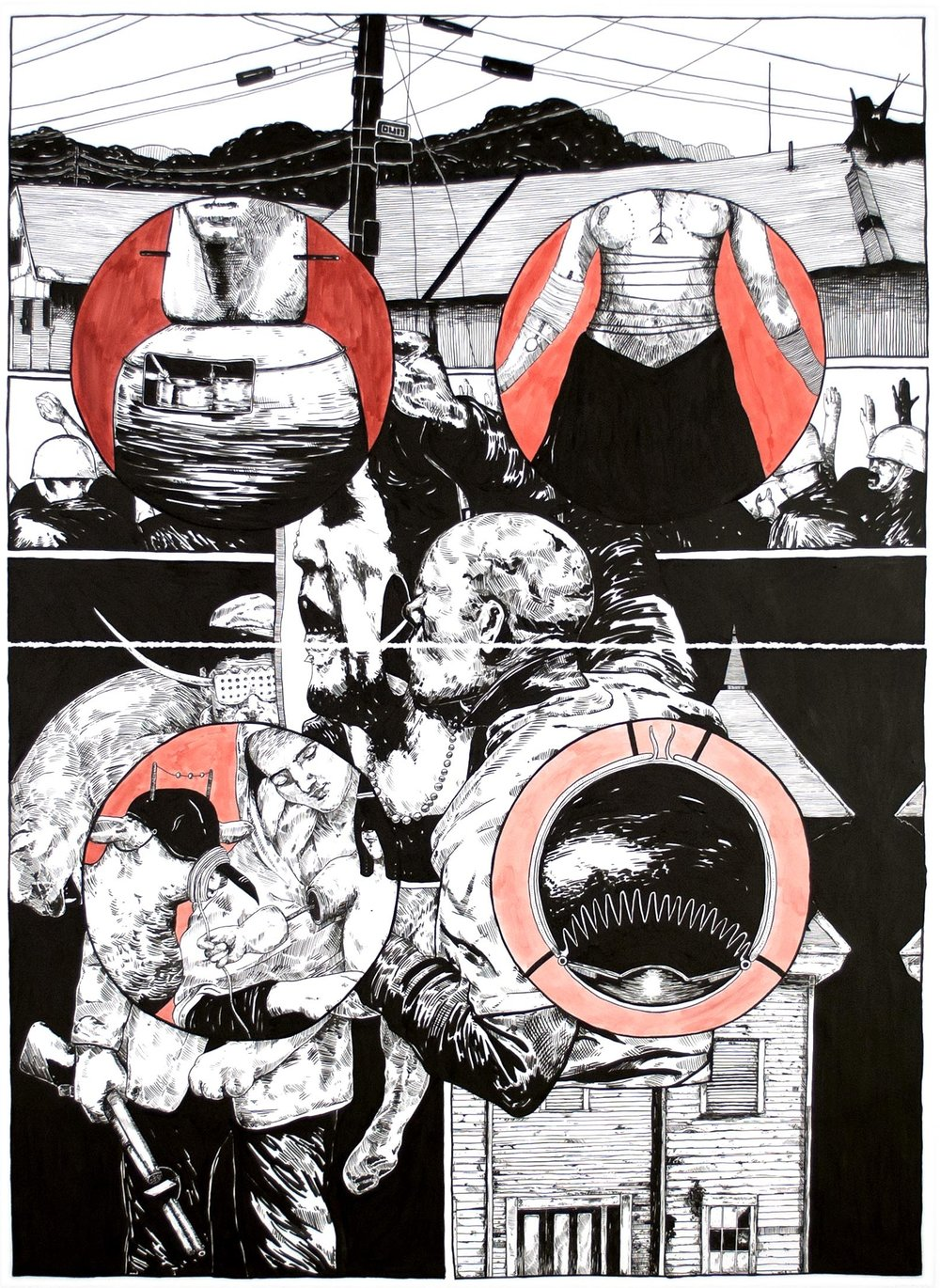 "Lower Than the Lowest Animal #5, 2014 60 x 44"" (diptych), india ink on paper"