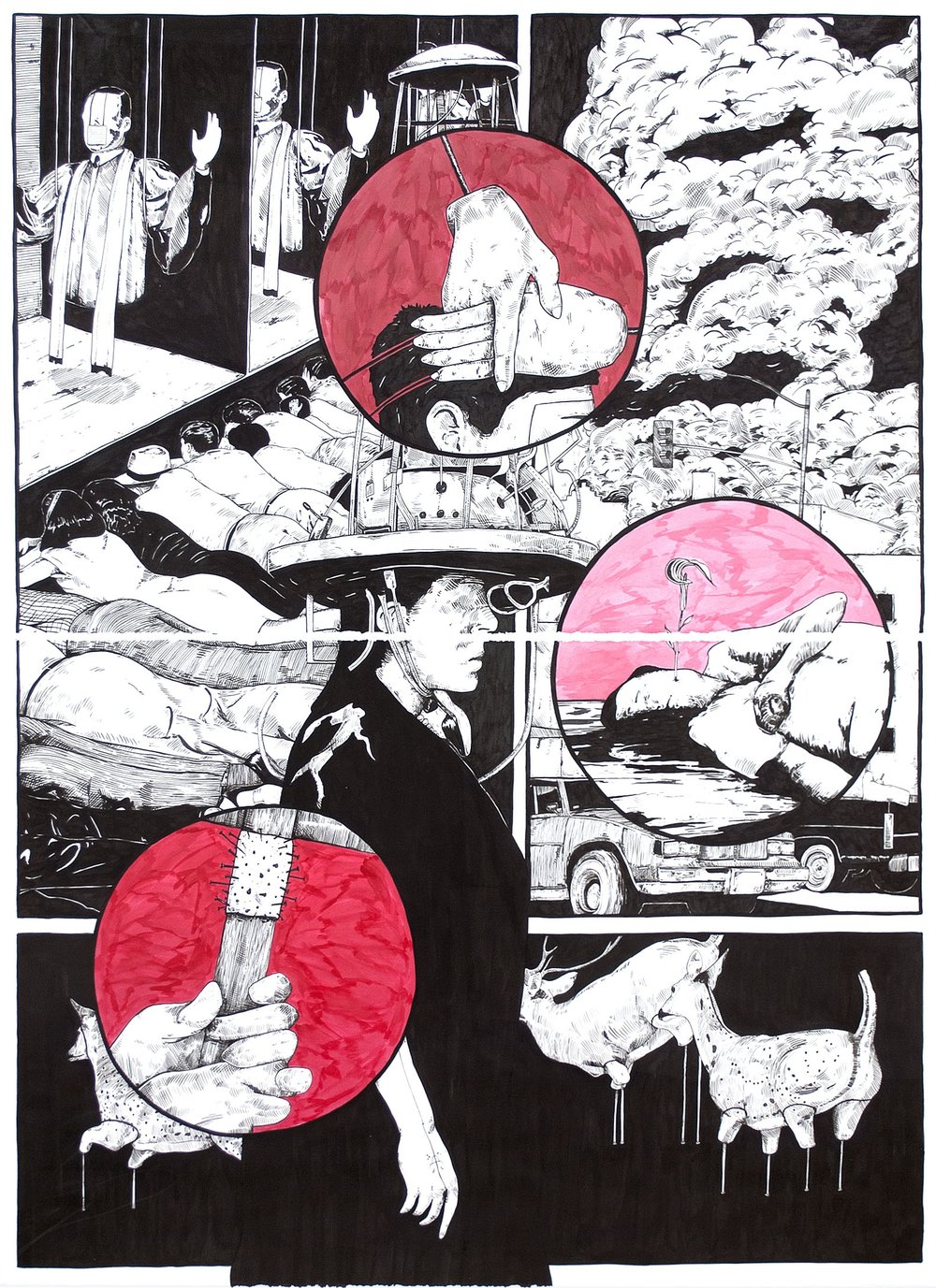 "Lower Than the Lowest Animal #7, 2014 60 x 44"" (diptych), india ink on paper"