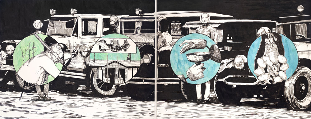 Lower Than the Lowest Animal #3 , 2013 India ink on paper 24 x 52 inches (diptych)