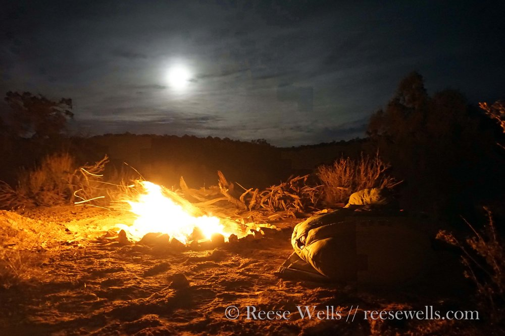 Goblin moon on the first night. It was cold out, sleeping next to the fire pit as the wind blew in the other direction.