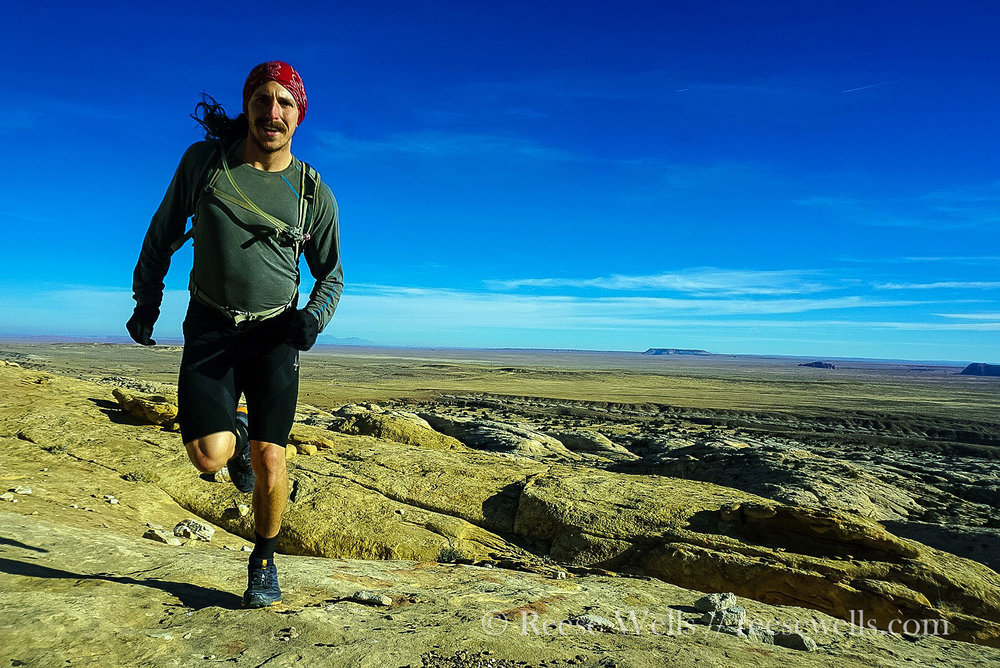 Glamour running up a mountain outside of Goblin Valley State Park.