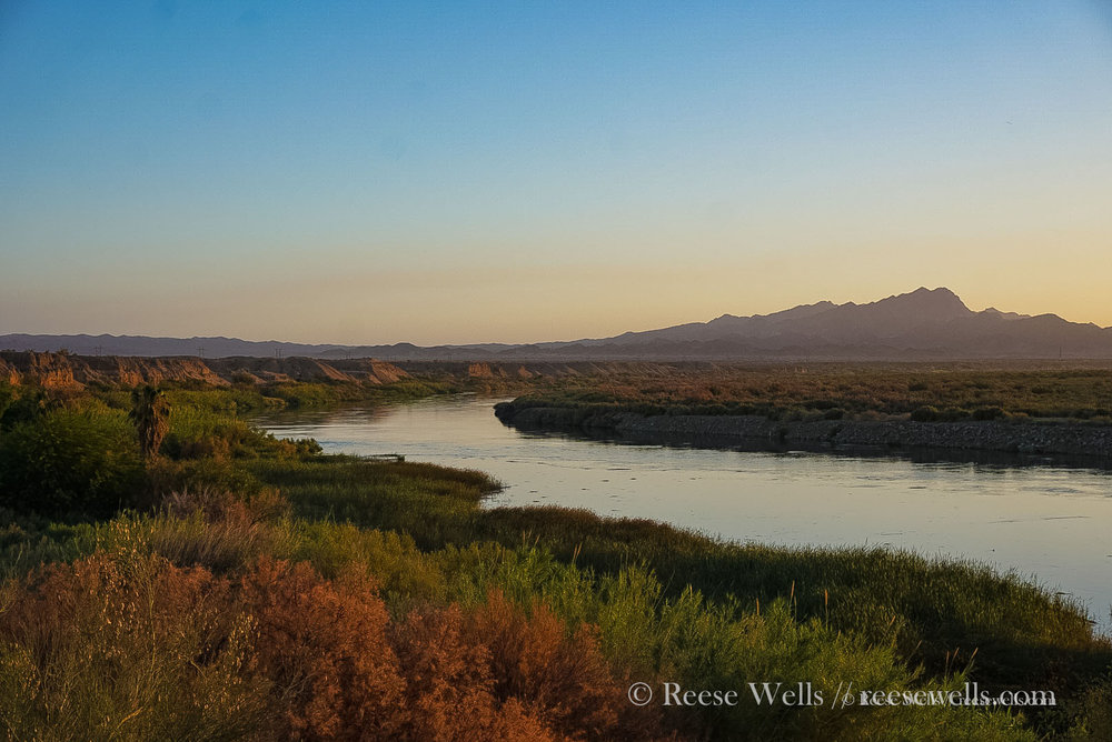 Sunrise on the Colorado River north of Blythe, where we made a mandatory detour due to cycling restrictions outside of Blythe, CA.