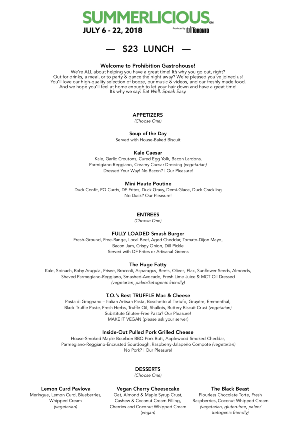 Prohibition Gastrohouse - Summerlicious 2018 - Lunch Menu