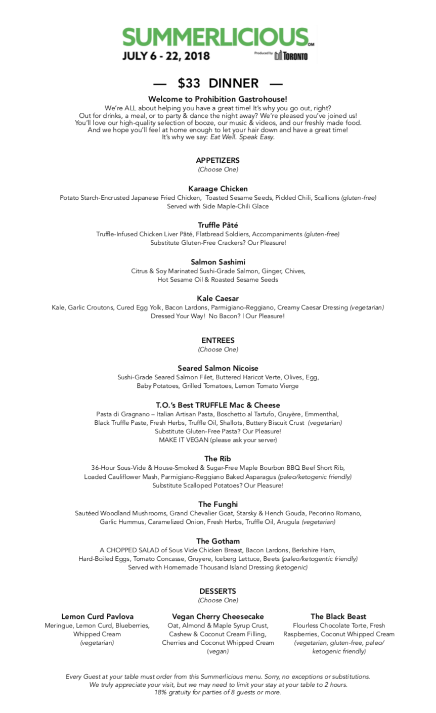 Prohibition Gastrohouse - Summerlicious 2018 - Dinner Menu