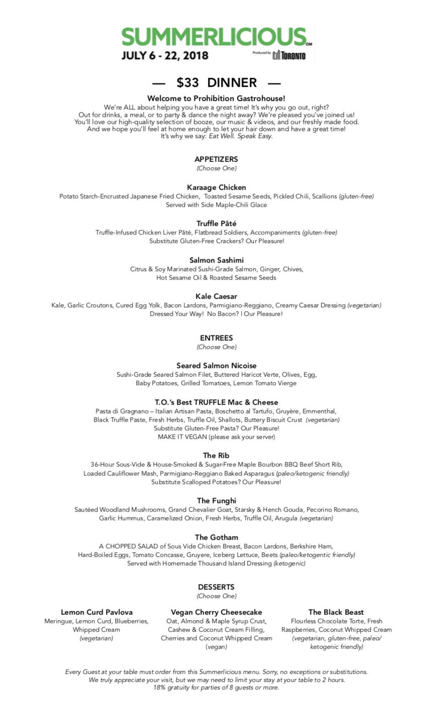 Prohibition Gastrohouse - Summerlicious 2018 Dinner Menu