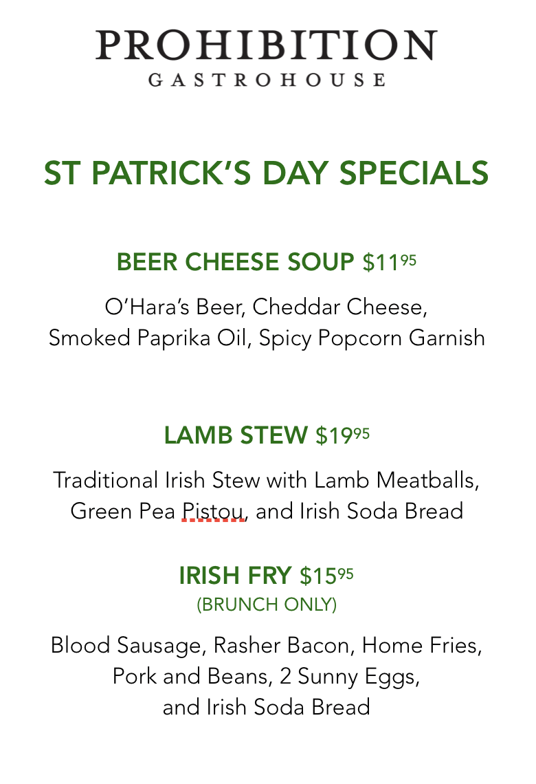 Prohibition Gastrohouse St. Patrick's Day Special Menu
