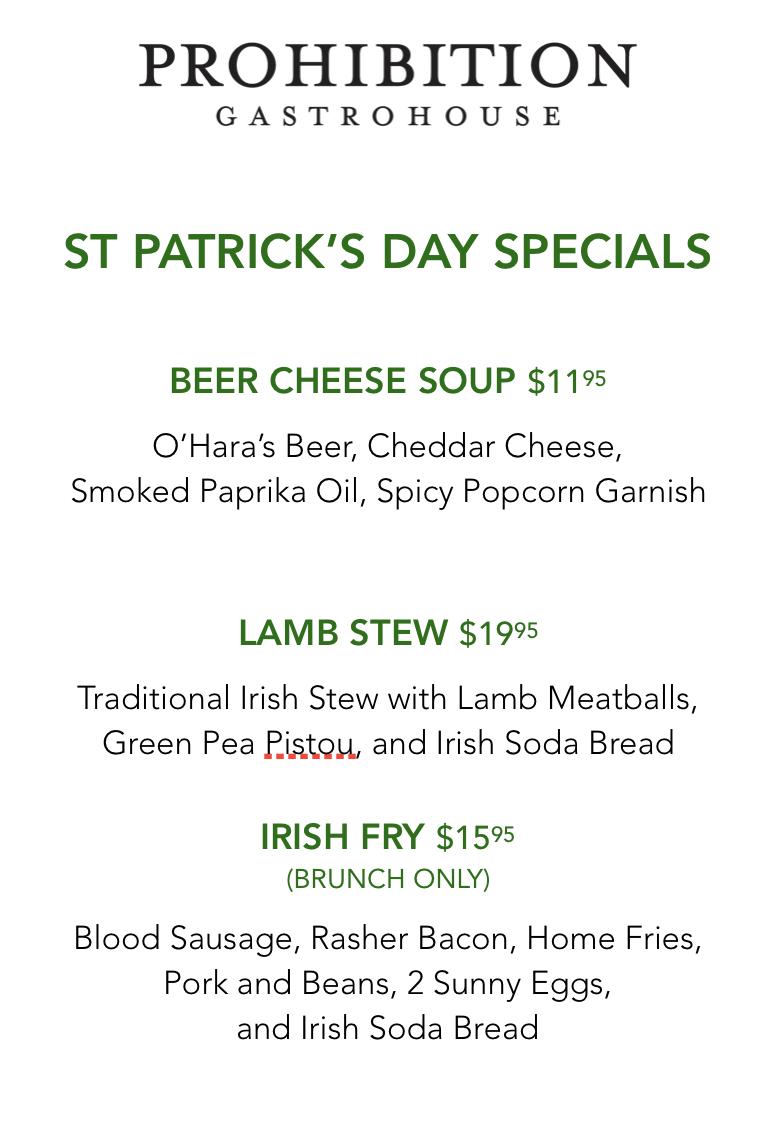 Prohibition Gastrohouse St. Patrick's Day Special Menu