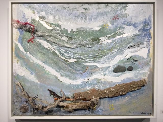 "ShShorelines : barnacle bark, 2015, 24'x36"", mixed media"