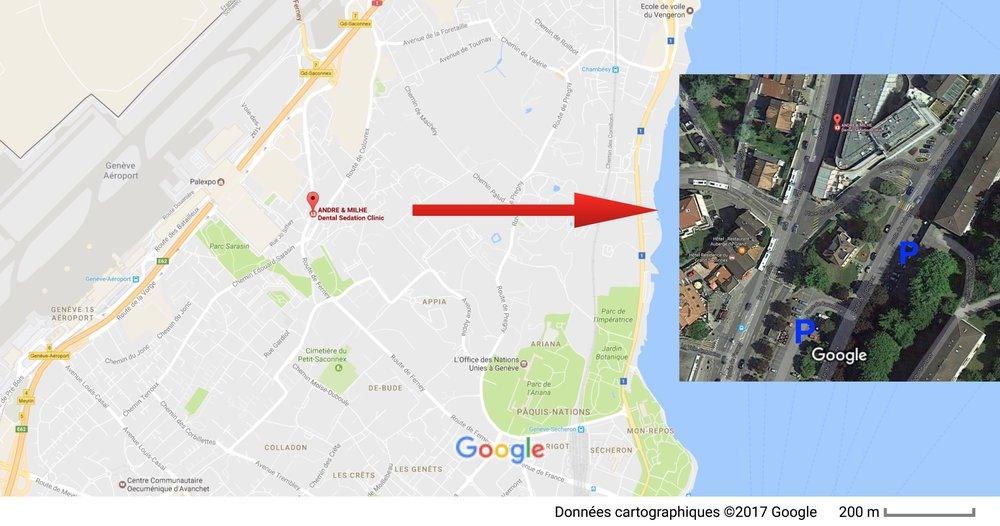 Route de Ferney 194, 1218 LE GRAND SACONNEX    Dans la cour intérieure de l'immeuble. Vous ne pouvez pas nous manquer.    Situé à proximité de l'aéroport de Genève, de Palexpo et des organisations internationales, notre cabinet est facilement accessible. Un simple clic sur la carte vous donnera accès à Google Maps et aux différents itinéraires disponibles en voiture, transports en commun, vélo et à pied.    De nombreux parkings en zone bleue sont disponibles aux alentours.