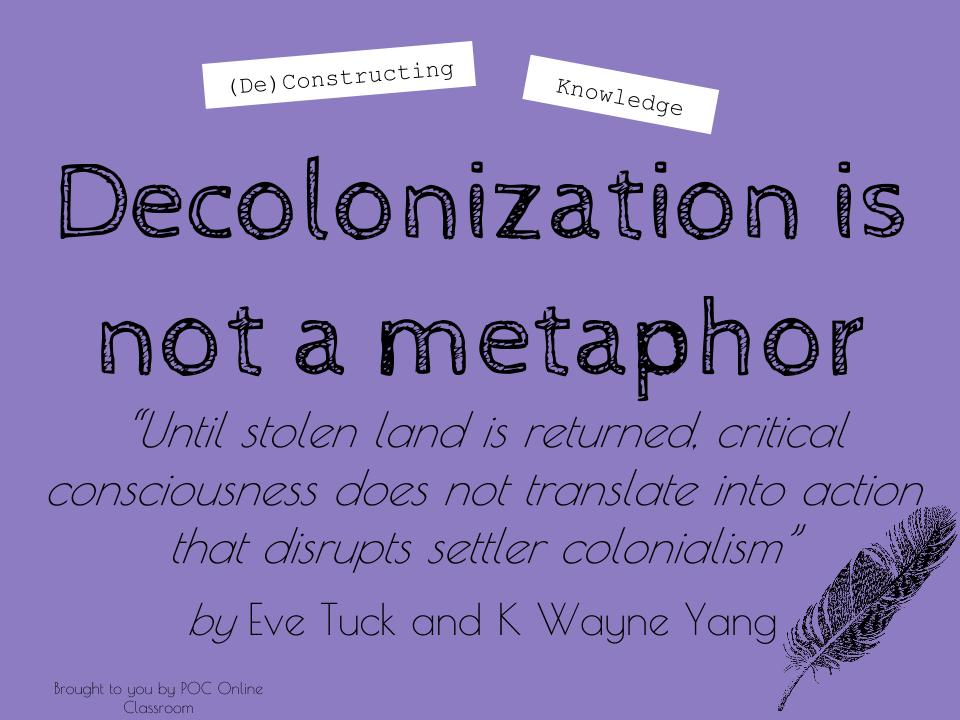 Image result for Decolonization Is Not a Metaphor