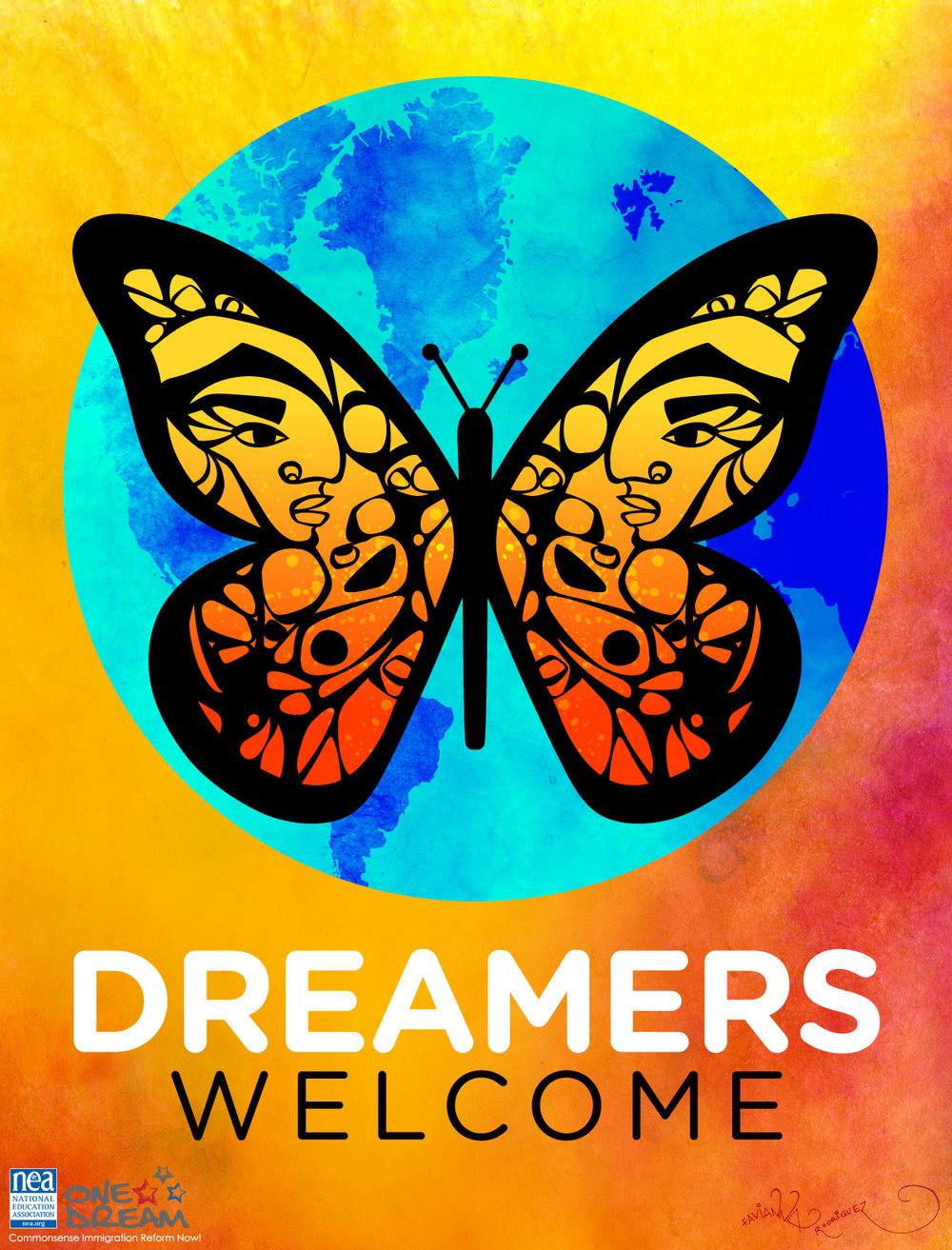 "Poster is a colorful butterfly with people's faces in the wings, covering the earth. Underneath it reads ""Dreamers Welcome."" Image via  NEA.org"