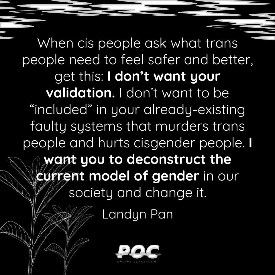 "Image is black background with quote reading ""When cis people ask what trans people need to feel safer and better, get this: I don't want your validation. I don't want to be ""included"" in your already-existing faulty systems that murders trans people and hurts cisgender people. I want you to deconstruct the current model of gender in our society and change it."" At the top of the image are grey and white swirls. The outline of leafy plants are in the bottom left hand corner. The white POC logo is in the middle on the bottom."