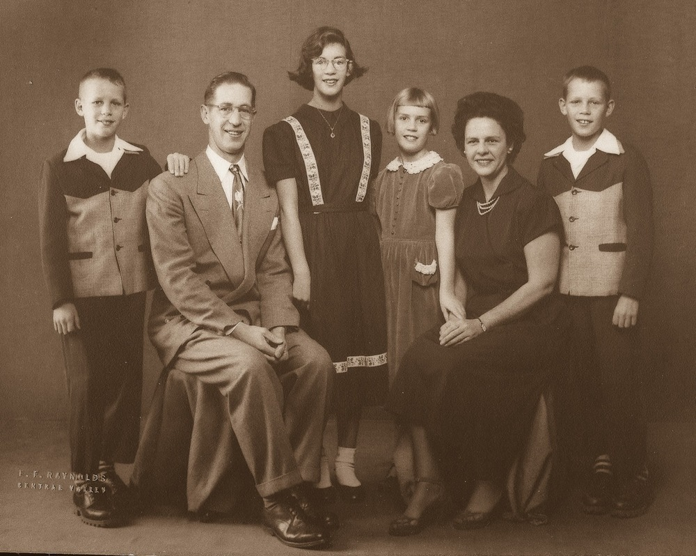 Robert, Dad, Robin, Valerie, Mom and Ross burkhardt in the early 1950s, shortly before the infamous Family Gift Exchange