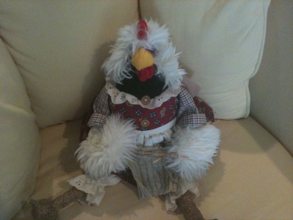 Our Stitch 'n Bitch mascot was Purl, a knitting rooster who always sat on the coffee table during our gatherings.