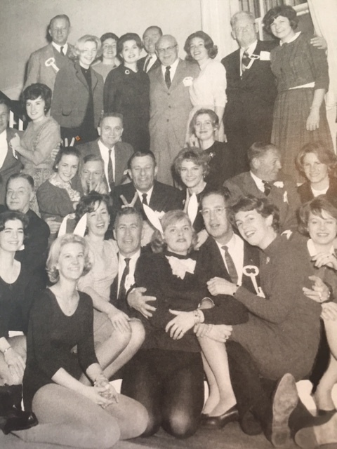 Check out Dad and me in front, center, with friend Betty Anne, whose dad couldn't come, dressed up as a PlayBoy bunny.