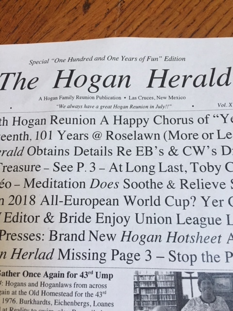 """Brother Ross always publishes a newspaper, the HOGAN HERALD. No """"fake news"""" in this chronicle."""
