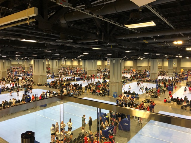Just one section of the Convention and Exhibition Center which featured 110 courts!