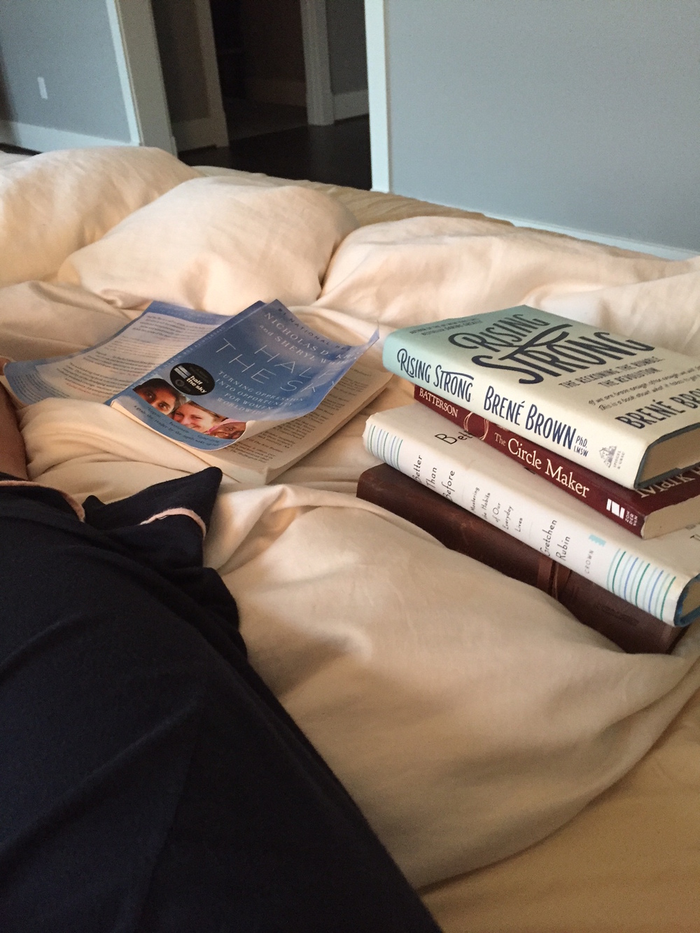 My bed.  My books.  My pajama-clad leg.  MY IDEA OF HEAVEN.
