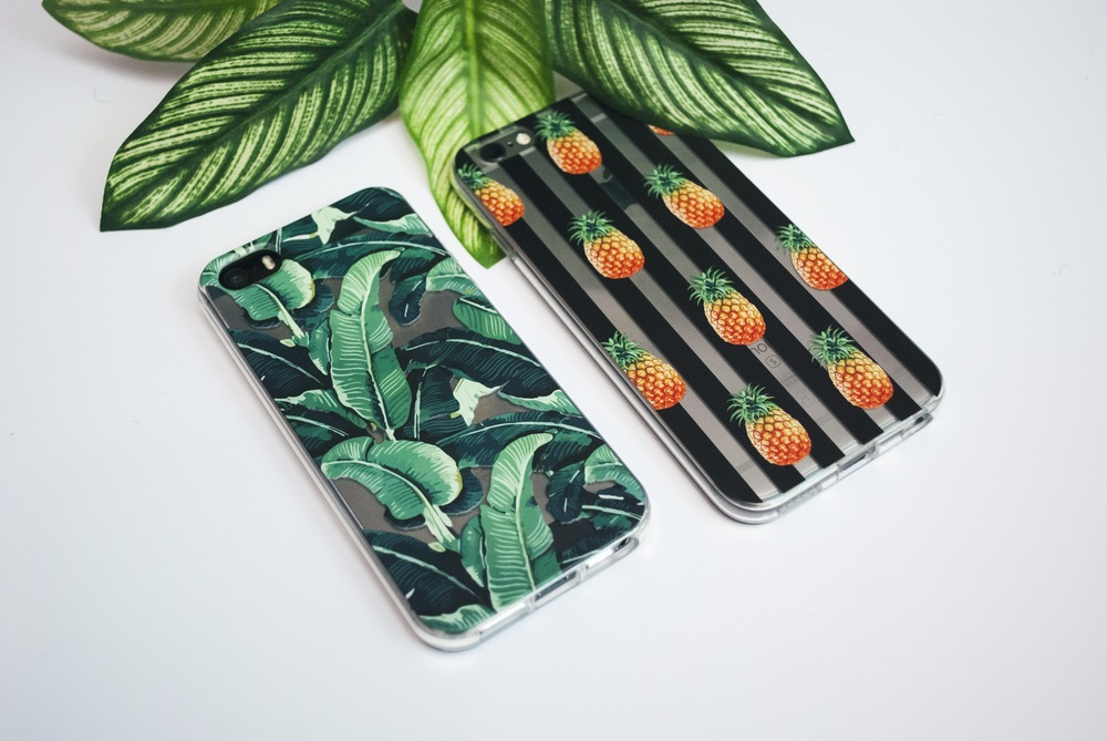 Inkase banana tropical leaf phone case and pineapple stripe phone case with leafs