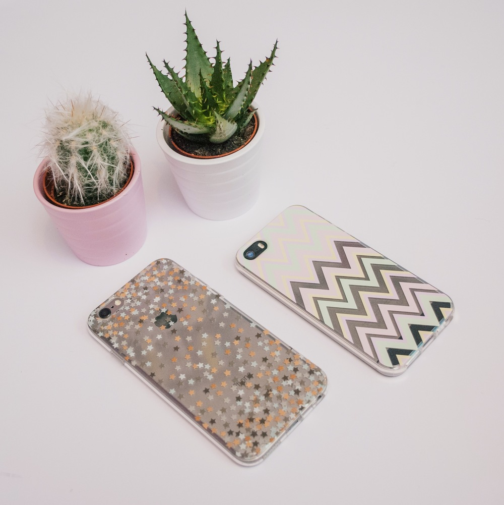 Inkase star iPhone case and pastel zig zag iPhone case with cactus