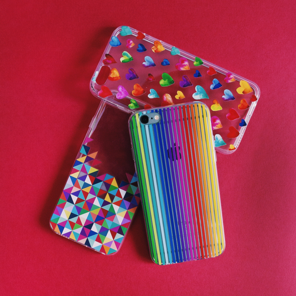 Inkase colourful bold iPhone cases. Coloured geometric, rainbow stripe and hearts cases
