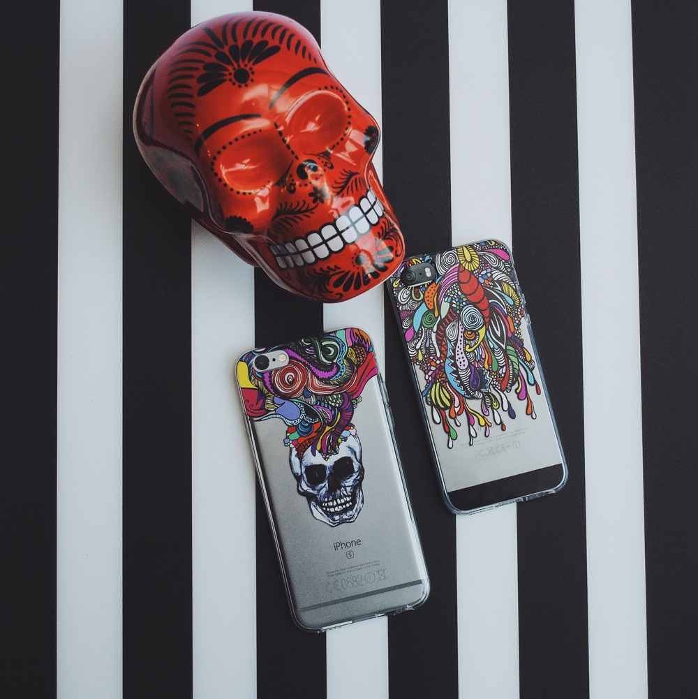 Inkase Skull iPhone case and doodle iPhone case