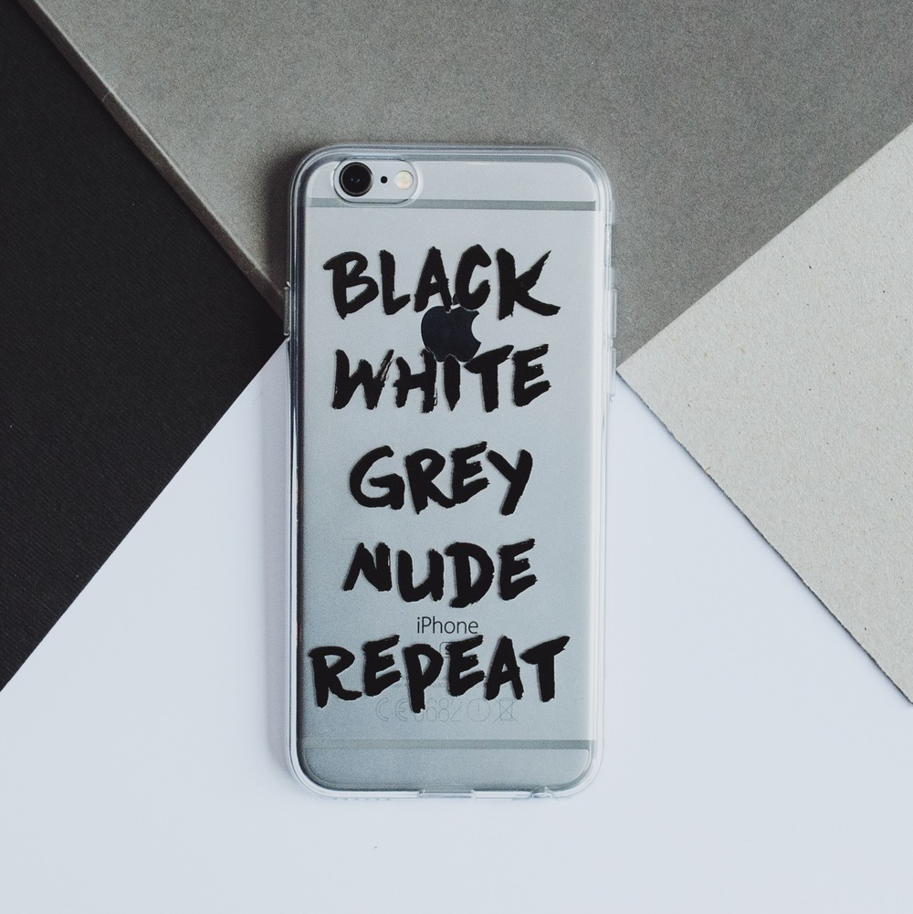 Inkase black white grey nude repeat quote text iPhone case
