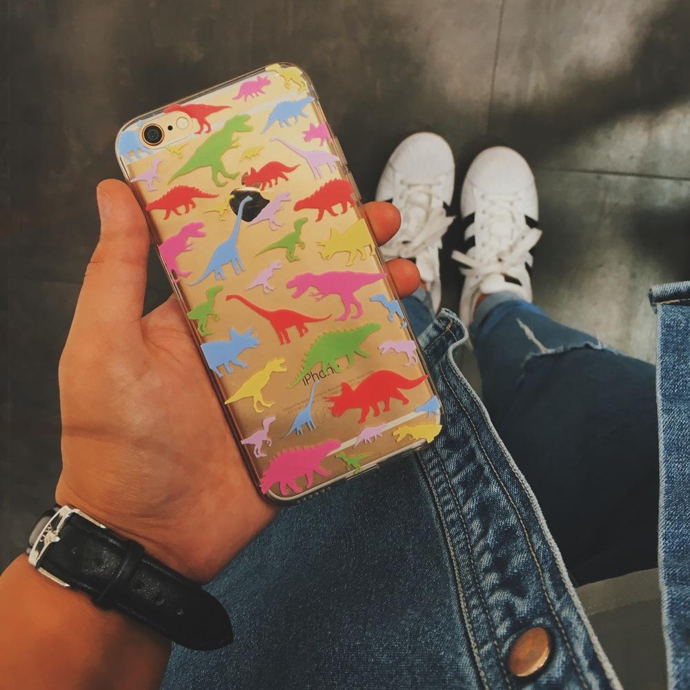 Inkase dinosaur iPhone case on gold iPhone