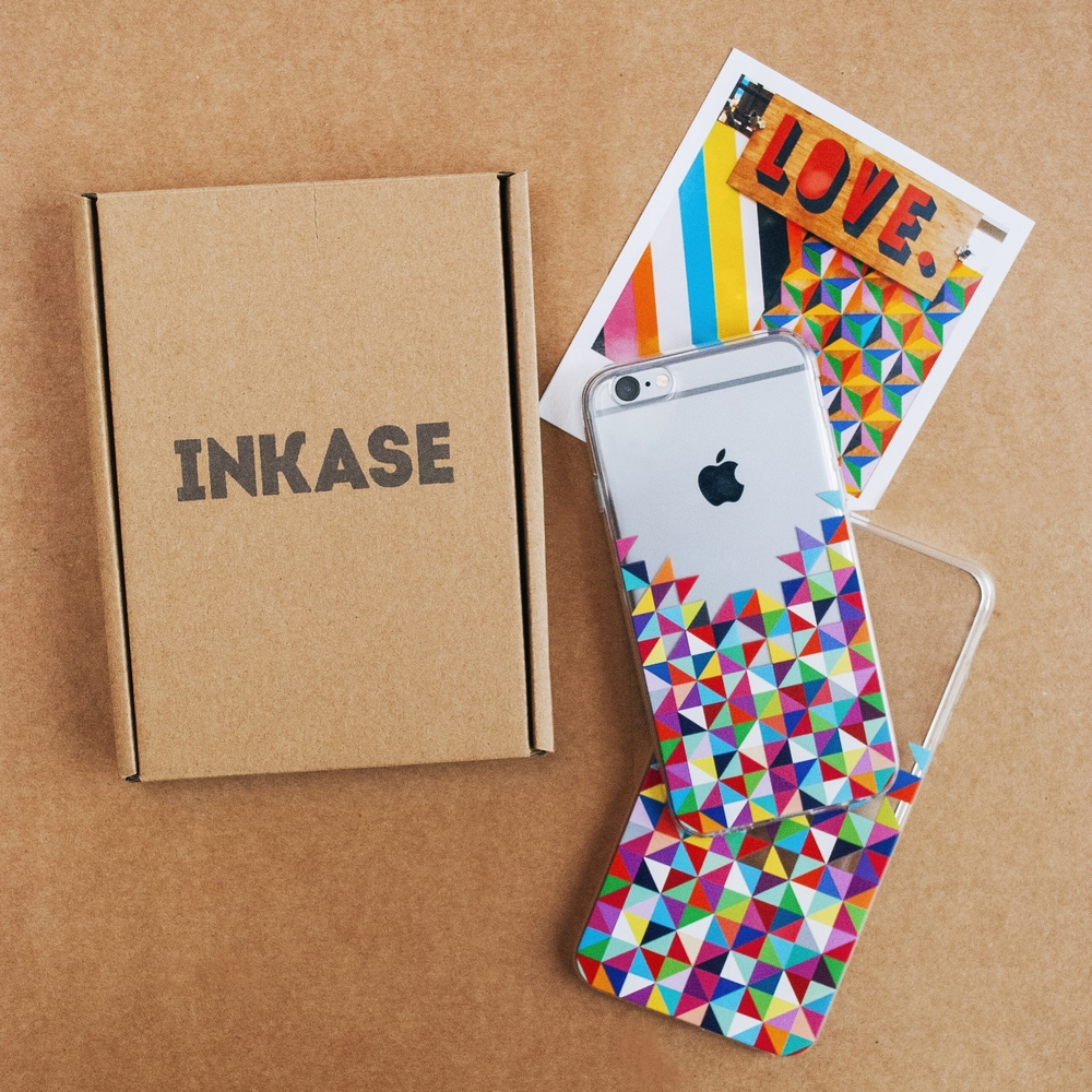 Inkase phone case packaging and coloured geometric phone cases