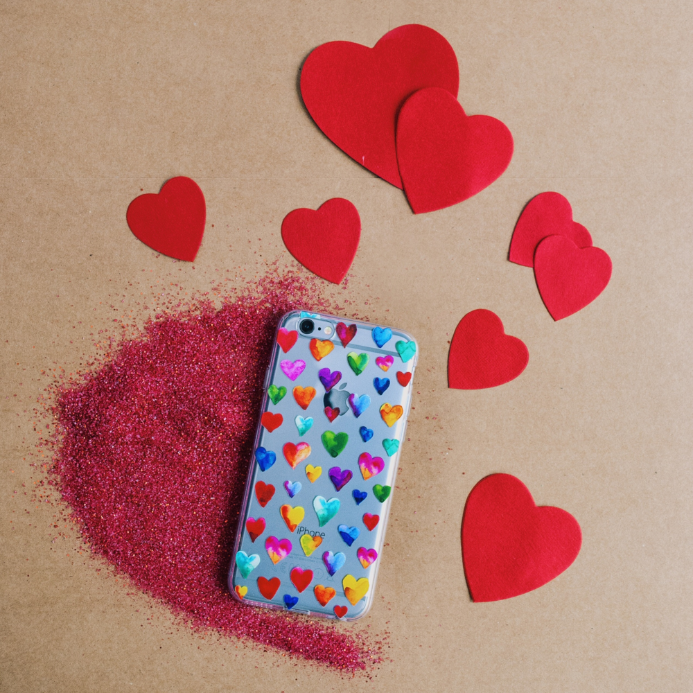 Inkase heart case with red glitter and heart paper hearts