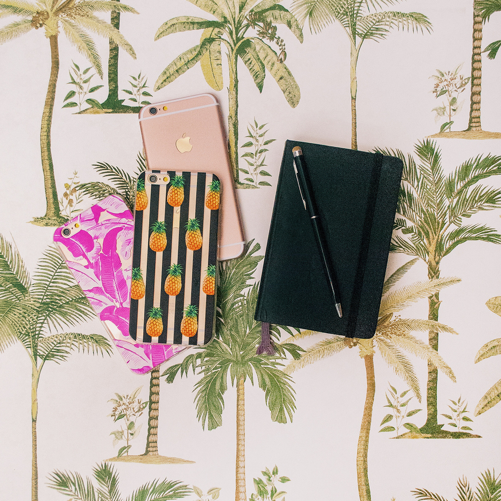 Inkase Pineapple and Tropical Pink Leaf Phone Case with Moleskin Diary on Tropical Background